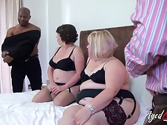 Group trash porn video featuring two chubby aged housewives in sexy outfits