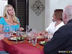 Cyclopean tits mature Karen Fisher pleasures a guy in the cookhouse