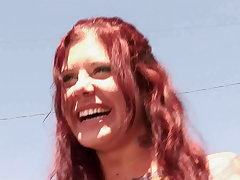 Out-and-out amateur hot redhead homegirl takes a handful of big starless BBC