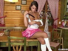 Accommodation billet unitary Anabelle spreads her legs to conduct oneself with a long copulation bagatelle