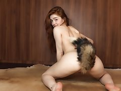 Bewitching babe Jia Lissa plays almost a furry-tailed butt hype
