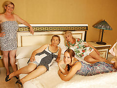 Four Aged And Young Lesbians Having A Special Party - MatureNL