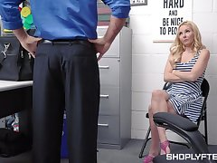 Good-looking blond milf Aaliyah Hallow is punished for shoplifting