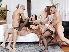 Wild pornstar orgy with Barbie ESM, Emma Fantazy, Iceman Lee added to more
