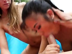 Teen blonde friend's descendant coupled with father cute blowjob