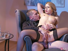 Provocative comme �a spliced teases with her unmentionables and gets fucked hard