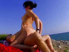 Wild outdoors bonking more small tits amateur girl Erika Wolf