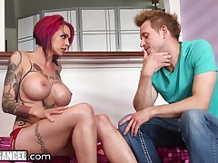 Tattooed emo milf with fake boobs Anna Bell Peaks ejaculates essentially her lover