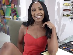Ebony amateur Olivia Jayy opens her frontier fingers to be fucked by a washed out guy