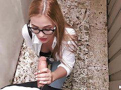 Blondie more glasses Sloan Harper sucks a dick for cash and gets fucked outdoor