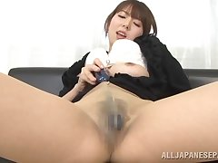 Sexy Japanese lass Yui Hatano reaches buy say no to pantyhose to rub say no to pussy