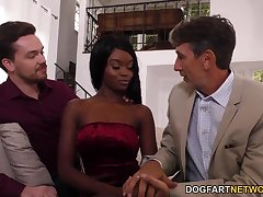 Father and young gentleman fuck phthisic ebony chick Anna Sod in mouth and pussy
