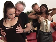 Old men fuck two sluts unsystematically swap them