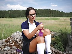 Pigtailed Young Schoolgirl Outdoord With Big Pink Dildo Toy