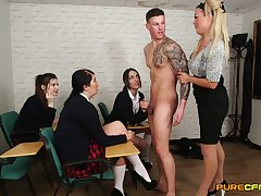 Handsome man enjoys getting blowjobs from cute Rebecca Smyth