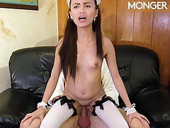 Shy Asian mademoiselle is ready to please her boss