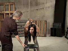 Slutty teen in socks gets pussy tortured hard while being tied up