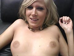 Altogether naked blonde gets holes fucked unconnected with half-naked man