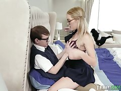 Blond teen in glasses Katie Kush seduces will not hear of nerd stepbrother
