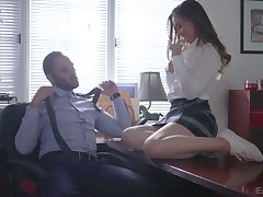 Lewd college main Danni Rivers is having crazy sexual intercourse fun with their way teacher