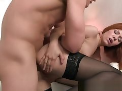 Bigass Redhead Anally Pounded In Stockings