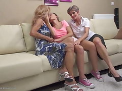 Taboo lesbian love with elderly and young ladies