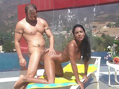 Spend bikini MILF pet Dee Baker rides dick into the open air by the pool