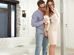 Nerdy babe in glasses Hazel Dew is fucked in her tight anal hole