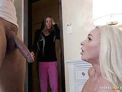 Orbit blonde cutie Emma Hix swallows a cumshot thwart a doggy roger