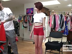 Well endowed stud is going nearby fuck petite short haired babe Lola Fae