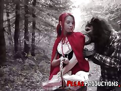 Chum around with annoy peppery riding hood Brind Love gets banged by woodcutter outdoors