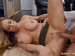 Big jugs mature polishing Keiran's knob with their way brashness and pussy