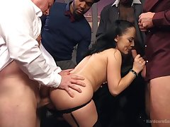 Interracial group sex is the favorite sex game be required of Kristina Rose