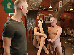 DADDY4K. Old dad seduces superb dark hair while son..