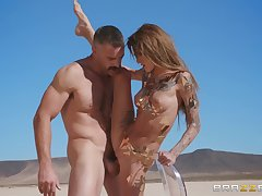 sexy Kimber Veils spreads her legs for a friend's penis in the wild desert