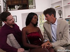 Two white dudes fuck face with an increment of untidy funereal pussy of ebony hooker Kandie Monaee