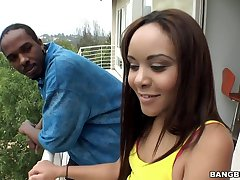 Bubble butt Latina fucked doggy style by big black load of shit