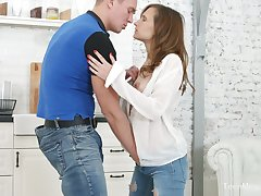 Russian spread out Stasya Stoune gets her pussy creampied on get under one's first date