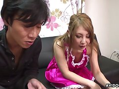 Sexy Japanese babe Mariru Amamiya gives her head and gets her muff fucked and creampied