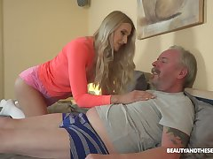Young blond nympho Diane Chrystall is eager for old wrinkled dick of her avant-garde lover