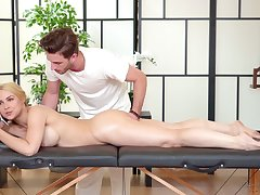 X-rated business woman Sarah Vandella is relaxing with handsome massage young man