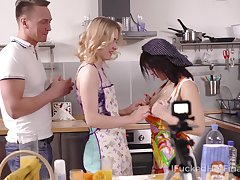 Two cooking girls nearly aprons swallow a big dick covered nearly whipped cream follow up on fucked