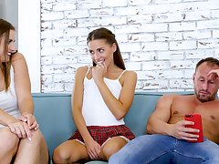 Triplet with attractive teens Eveline Dellai and Jenifer Jane