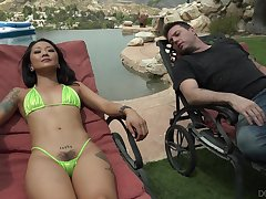 Well off on deck chair Asian sweetie Saya Song wanna have well-disposed outdoor bonk