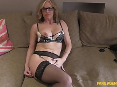Mature blonde Summer Rose with glasses fucked on the fake troupe